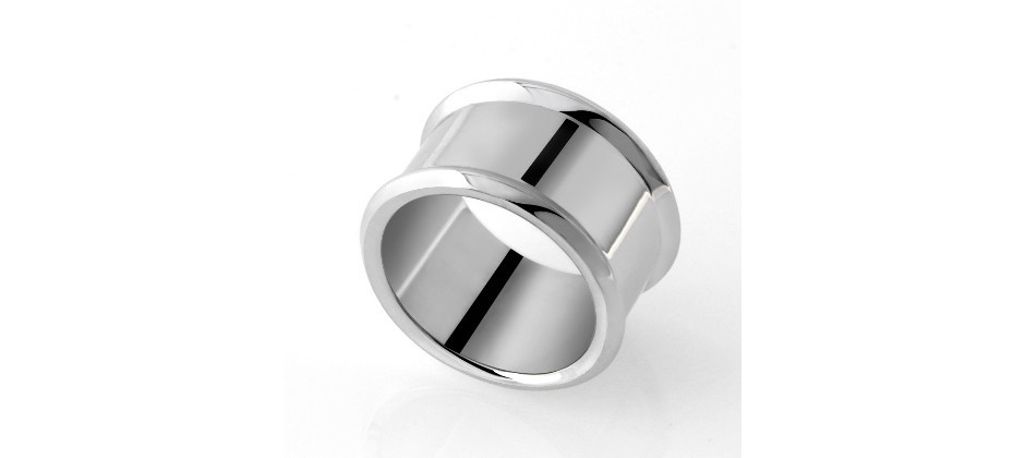 White Silver Ring covered with Gold - for man and woman