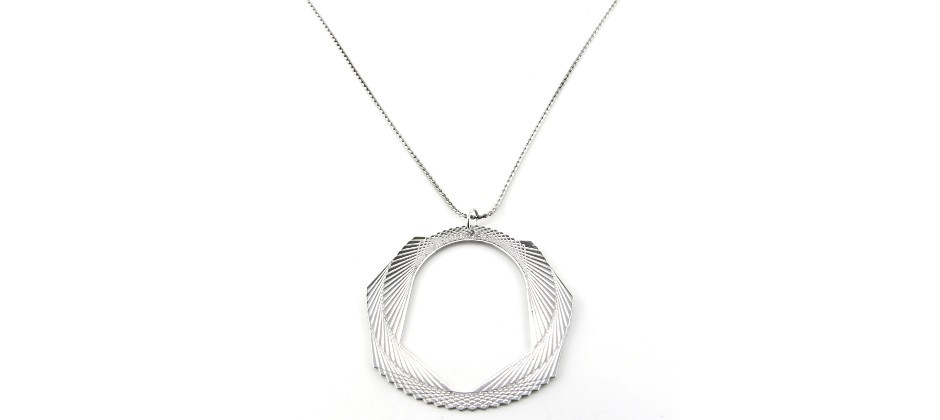Brass Necklace covered with White Gold inspired to Sphyrograph Game