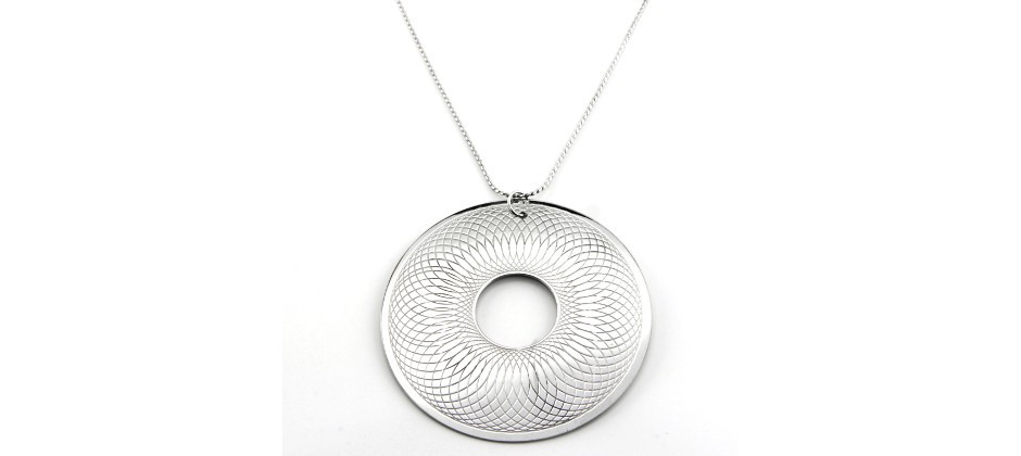 Brass Necklace inspired to sphyograph game covered with white gold